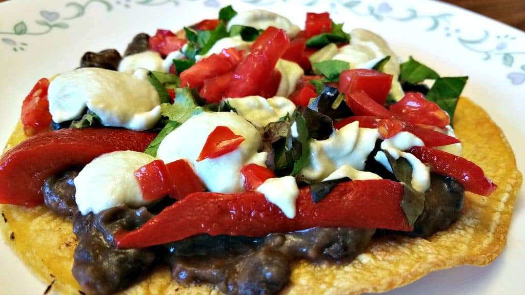 Black Bean Tostadas with Green Chile Sour Cream