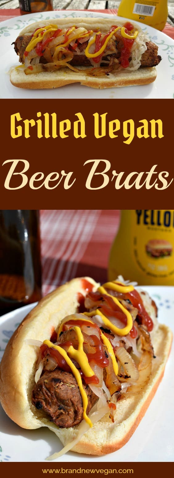 Get your Vegan Beer Brats! Hot off the grill. Completely fat-free these Vegan Beer Brats have amazing favor and hold up very well on the grill. Perfect for summertime BBQs!