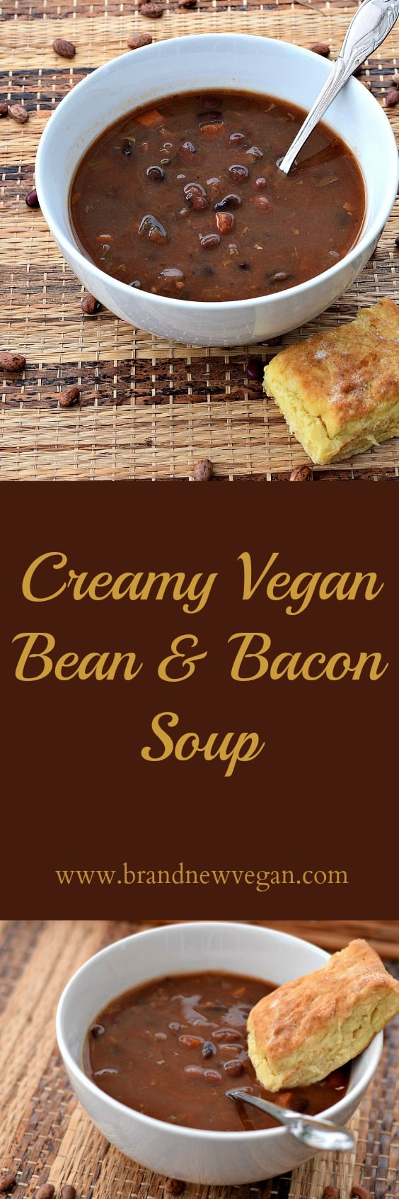 This Vegan Bean and Bacon Soup remins me of those little cans of Campbell's Soup I ate as a kid. With marinated mushrooms substituted for the bacon you almost can't tell the difference!