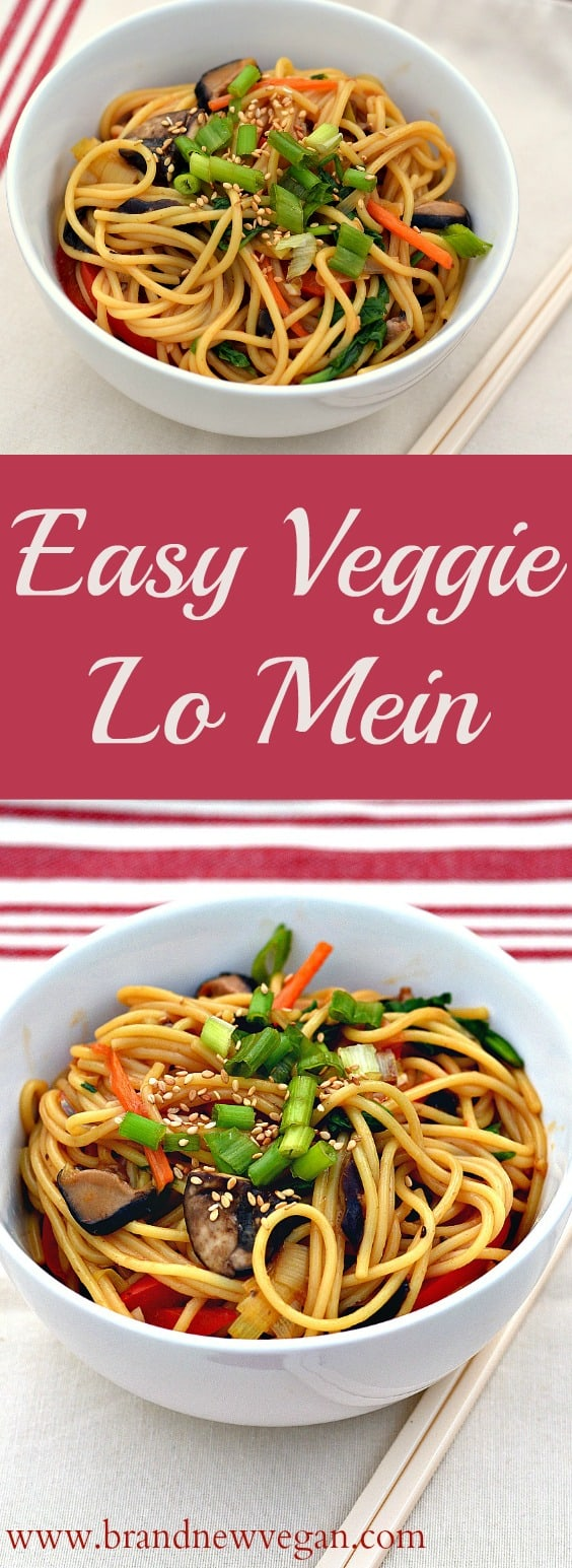 There's just something comforting about sitting down with a big bowl of noodles..... like this incredibly easy, fat-free, Veggie Lo Mein.