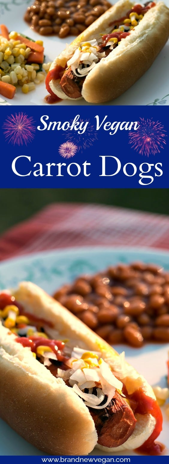 smoky vegan carrot dogs