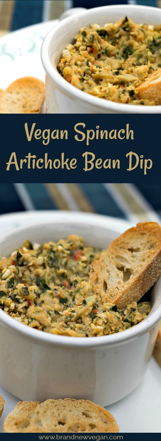 A creamy, cheesy, Vegan Spinach Artichoke Bean Dip, without all the fat and calories. Perfect for movie night or the big game.