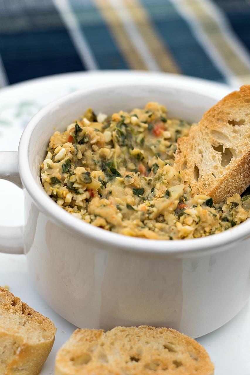 vegan spinach artichoke bean dip