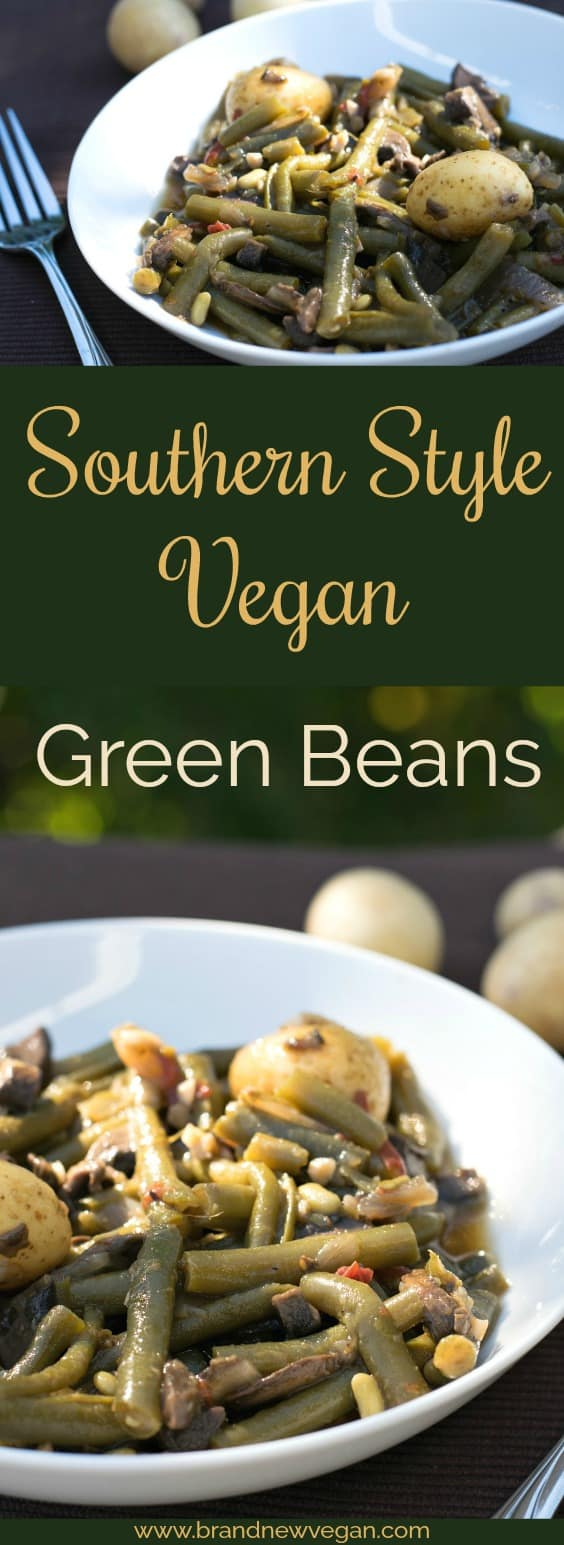 These Southern Style Vegan Green Beans still have that country flavor with the addition of Mushroom Bacon...slow simmered all day long....mmm good eating' !