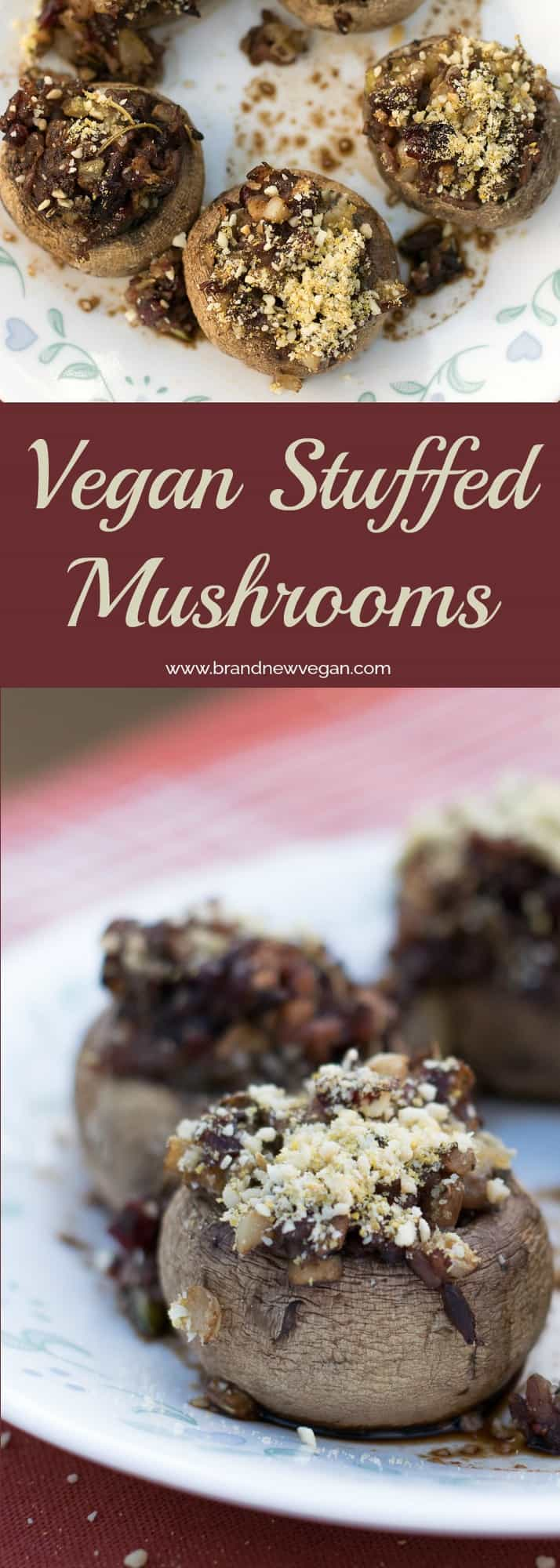 Surely a new holiday favorite, Vegan Stuffed Mushrooms. The stuffing could be a dish all by itself, but becomes magical, stuffed inside Baby Bella Mushrooms.