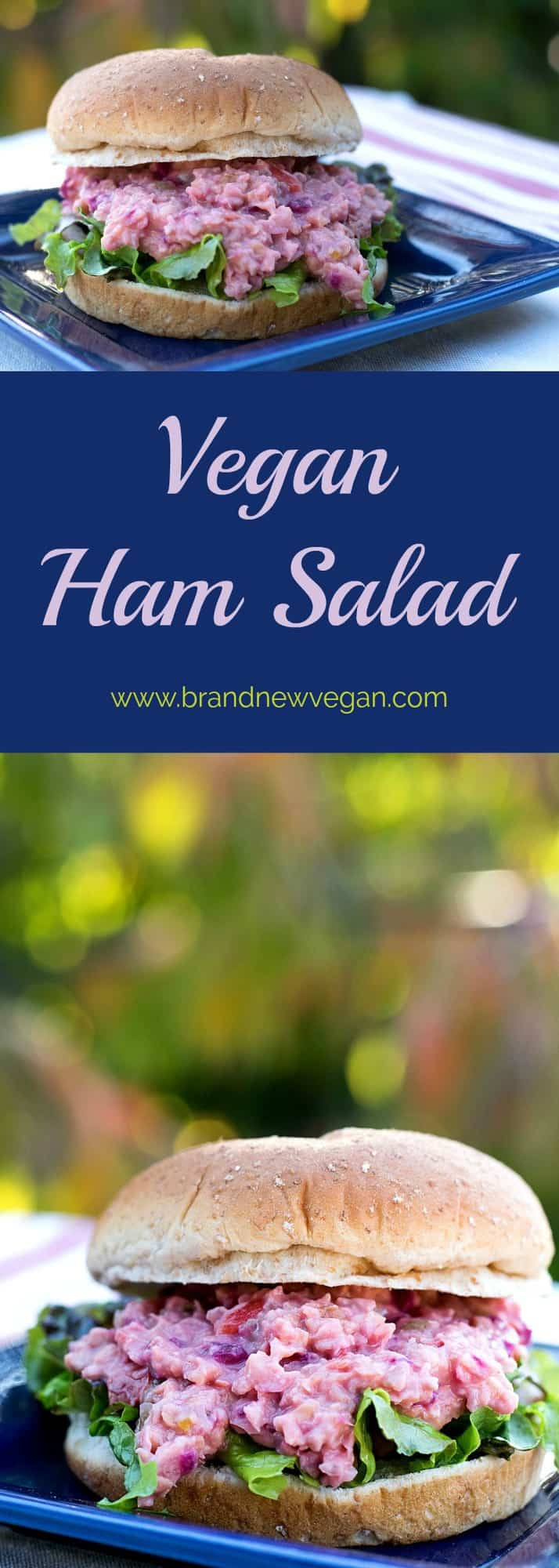 This Vegan Ham Salad is a tasty blend of chickpeas, red bell pepper, pineapple, and beet to replicate my favorite midwestern sandwich spread.