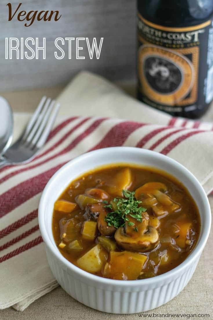 "If you love a thick, hearty stew - then this Vegan Irish Stew is for you.  Big chunks of Portobello Mushrooms, hearty root vegetables, and an amazing broth make this a real 'stick-to-your-ribs"" kind of meal."
