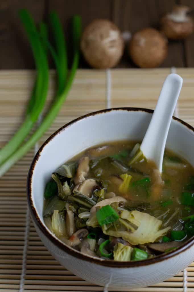 Vegan Mushroom Bok Choy Soup