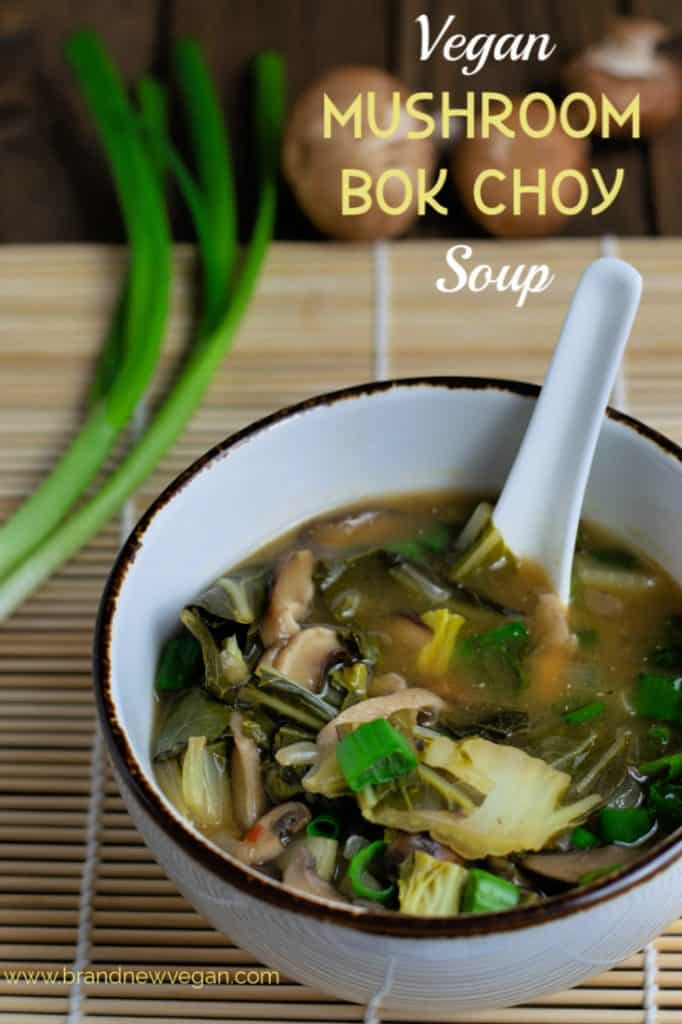 Healthy also means delicious in this super easy-to-make Vegan Mushroom Bok Choy Soup. Who knew just a handful of ingredients could taste so good?