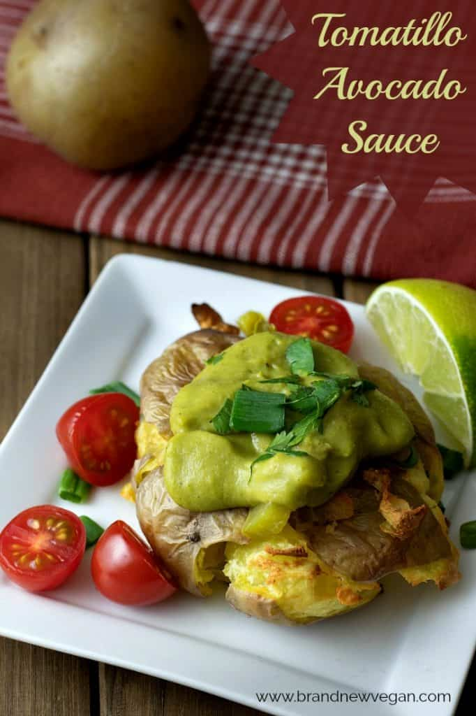This creamy tomatillo avocado sauce is SO easy to make. I used it on some smashed potatoes today and it was aMAZing! So fresh, so clean, and SO tasty!