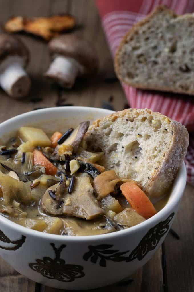 vegan wild rice mushroom stew