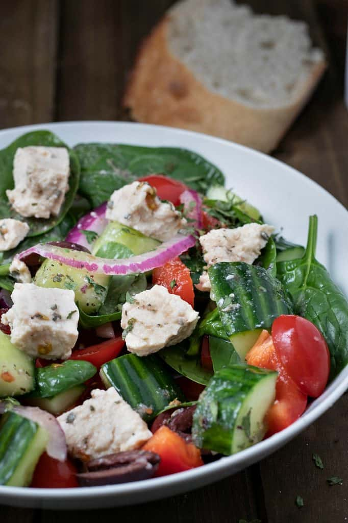 Vegan Greek Salad with Oil-Free Dressing and Tofu Feta