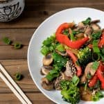 oil-free mushroom broccoli stir fry