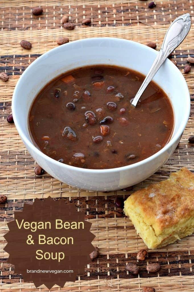 vegan bean and bacom soup