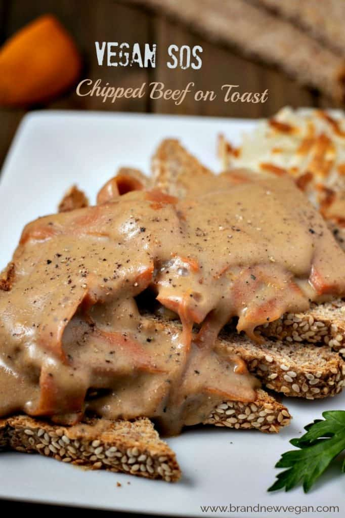 vegan chipped beef on toast